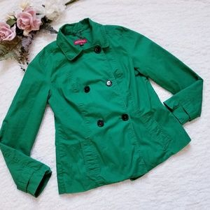 Merona Green Double Breasted Lined Light Jacket